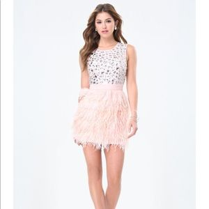Bebe Rhinestone Jeweled Feather Dress